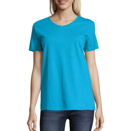 Women's Comfort Soft Short Sleeve V-neck Tee 1x1 Rib V-neck Top