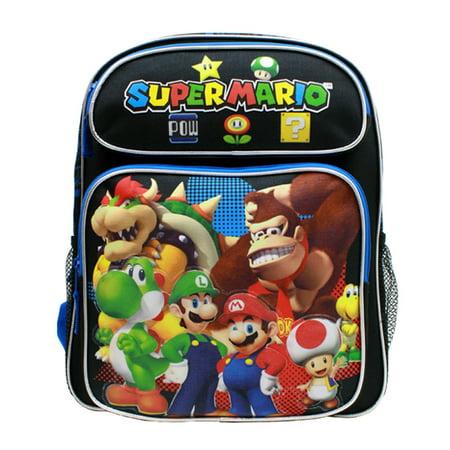 Medium Backpack   Nintendo   Super Mario Group Black 14   School Bag New Sd28257