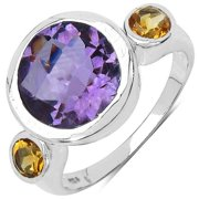 Malaika  Sterling Silver 3 7/8ct Amethyst and Citrine Ring
