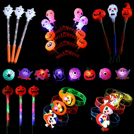 Ghost Party Sets (Halloween LED Party Light up Toys Box 39 Pieces Light Up Toy Halloween Party Favors and Decoration Set - Package Include Skull ,Ghost and Pumpkin Headbands,Glow Stocks,Bracelets,Hand Wands and Broochs)