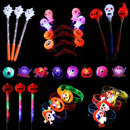 Halloween LED Party Light up Toys Box 39 Pieces Light Up Toy Halloween Party Favors and Decoration Set - Package Include Skull ,Ghost and Pumpkin Headbands,Glow Stocks,Bracelets,Hand Wands and - Hallooween Store