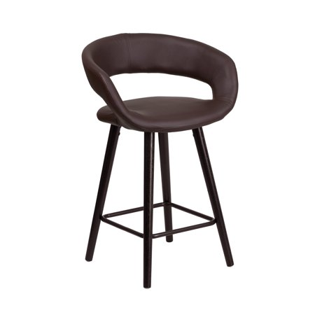 Flash Furniture Brynn Series 23.75'' High Contemporary Cappuccino Wood Counter Height Stool in Brown Vinyl