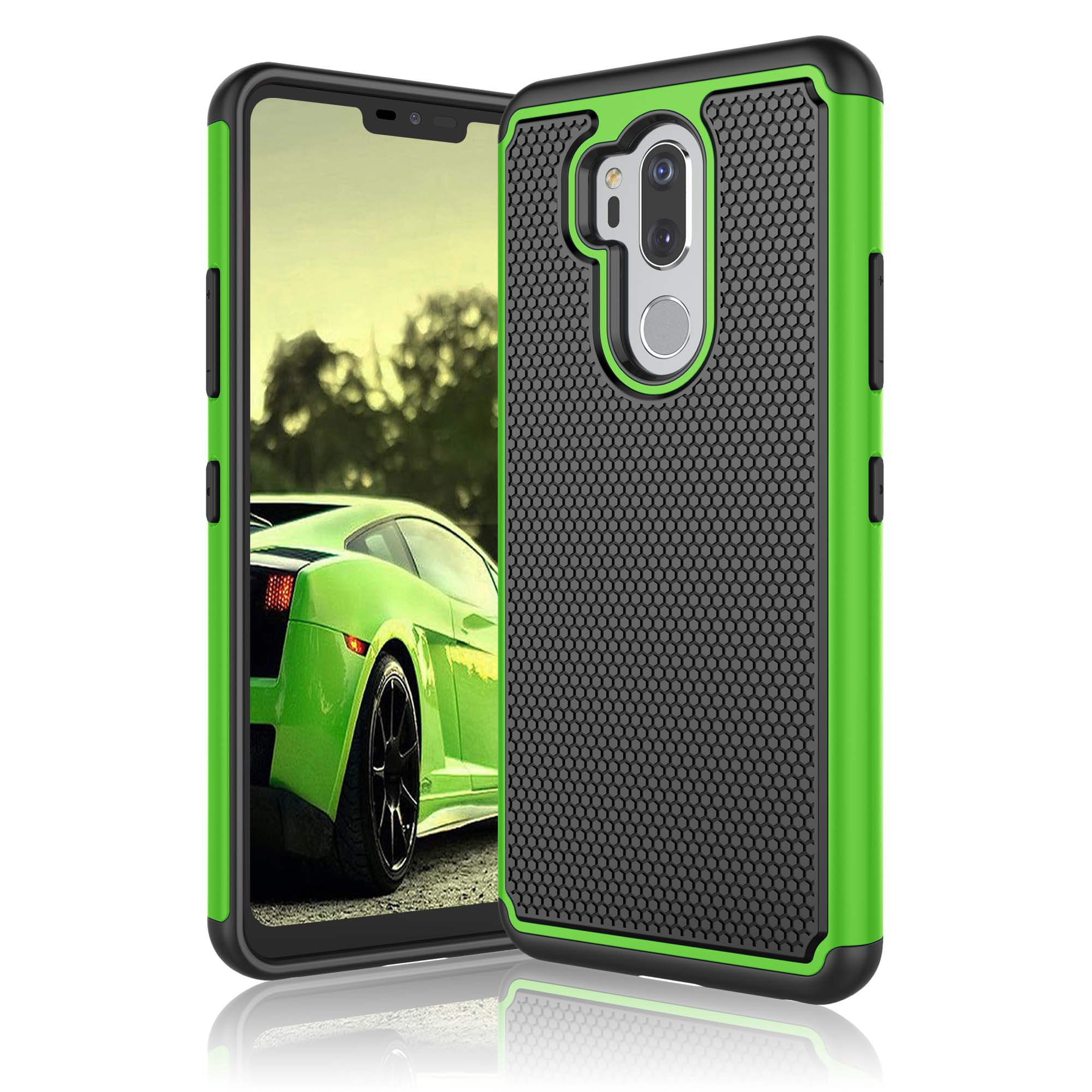 """Njjex Case 6.1"""" LG G7 / LG G7 ThinQ / LG G7+ ThinQ, Shock Absorbing Dual Layer Silicone & Plastic Scratch Resistant Bumper Rugged Grip Hard Protective Cases Cover For LG LM-G710 / LG G7 (2018)"""