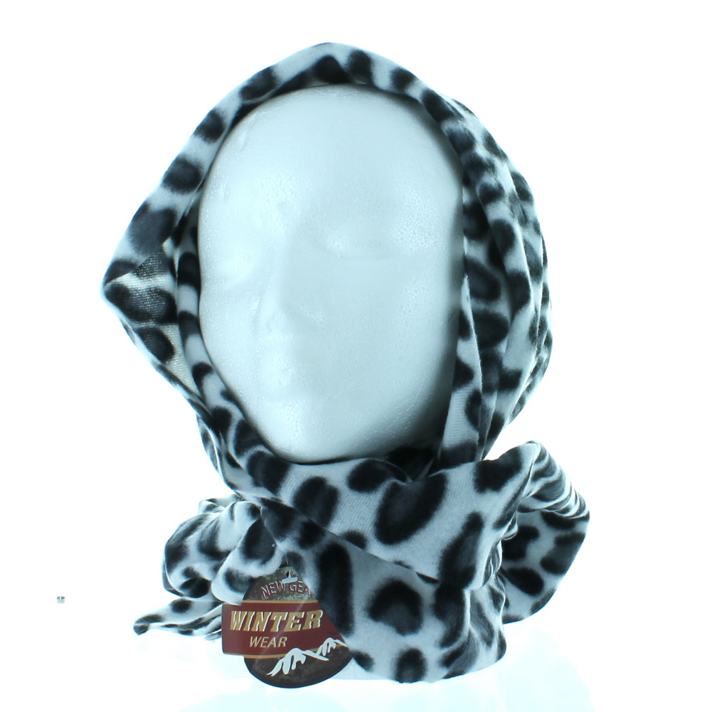 Women's Leopard Print Cashmere Feel Scarf White #121