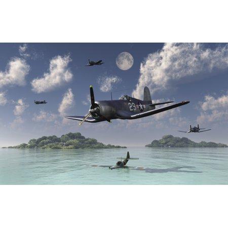 F4U Corsairs flying over a shot down Japanese Nakajima Ki-84 fighter plane Poster Print by Mark StevensonStocktrek