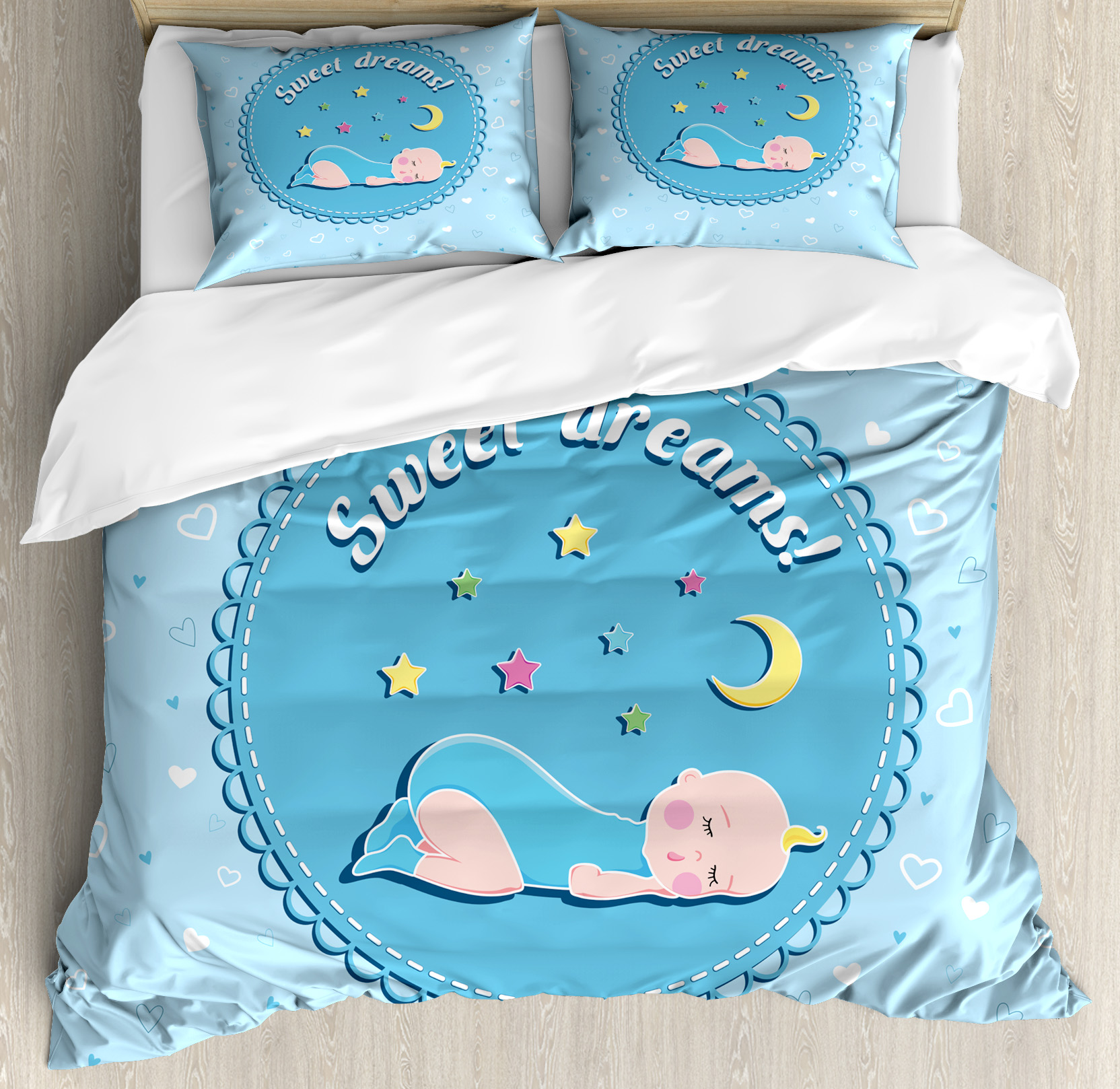 Sweet Dreams Queen Size Duvet Cover Set, Newborn Baby Sleeping with Colorful Stars and Moon on Heart Filled... by Kozmos
