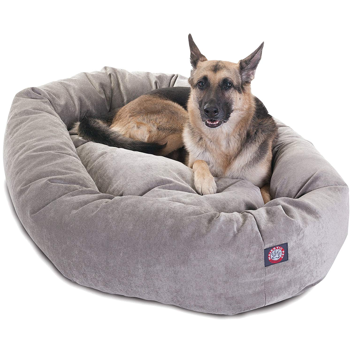 "Majestic Pet Products 52"" Suede Bagel Dog Bed Removable Cover"