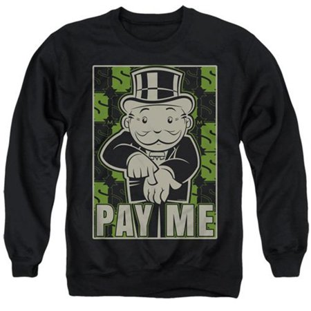 Trevco Sportswear HBRO166-AS-5 Monopoly & Pay Me Adult Crewneck Sweatshirt, Black - 2X