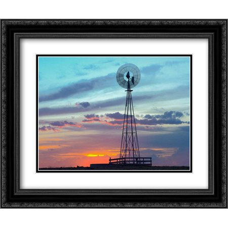 Windmill Producing Electricity At Sunset Example Of Renewable Energy  North America 2X Matted 24X20 Black Ornate Framed Art Print By Fitzharris  Tim