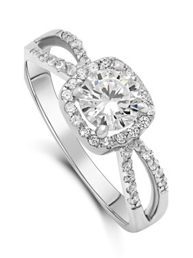 DTLA Sterling Silver Halo Style Cubic Zirconia Solitaire Fashion Engagement Ring 5-9