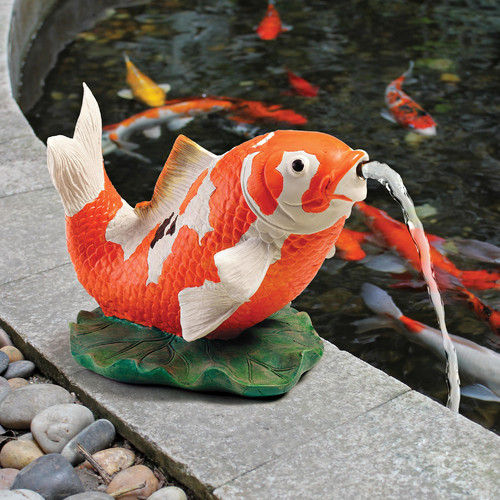 Design Toscano Kohaku Asian Koi Piped Spitter Statue