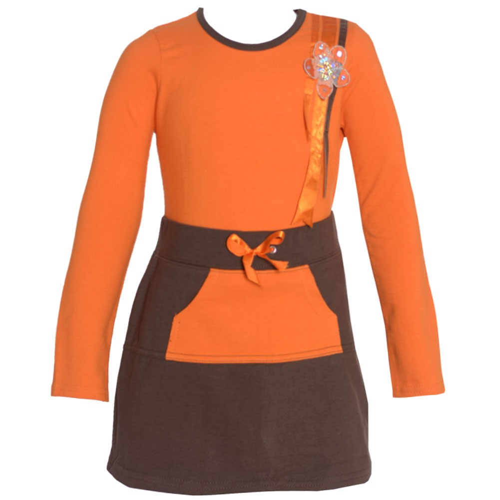 No Fuze Little Girls Orange Brown Floral Adorned Top 2 Pc Skirt Outfit 2T