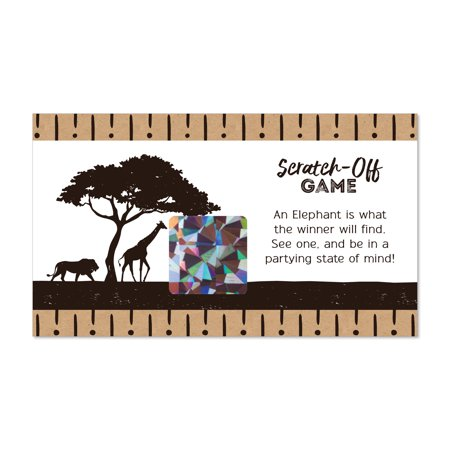 Wild Safari - African Jungle Adventure Birthday Party or Baby Shower Game Scratch Off Cards - 22 - Baby Shower Safari Games