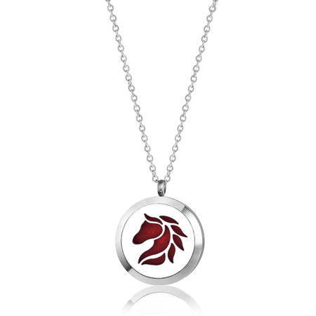 Anavia Horse Head Aromatherapy Jewelry Essential Oil Necklace with Gift Box
