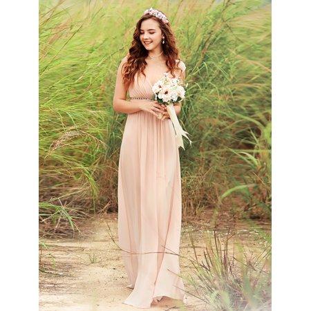 1f8a216f51576 Ever-Pretty Women's Sleeveless Bridesmaid Dresses Chiffon Aqua Blue Long  Maxi Evening Dress for Women 08697 Blush US 12