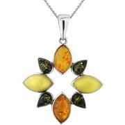 Multi-Shape Amber Sterling Silver Pendant, 18 Rolo Chain