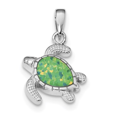 925 Sterling Silver Green Inlay Created Opal Turtle Pendant Charm Necklace Sea Life Gifts For Women For - Rembrandt Turtle Charm