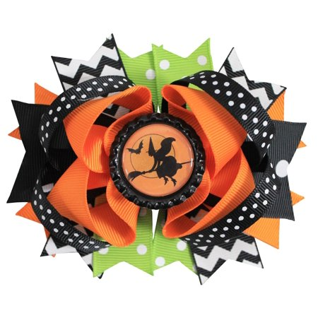 Princess Express Fall Halloween Boutique Button Hair Bow Clip for Girls](Halloween Fall Hair Bows)