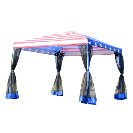 Flag Canopy (10' x 10' Easy Pop Up Canopy Party Tent with Mesh Walls - American Flag Print )