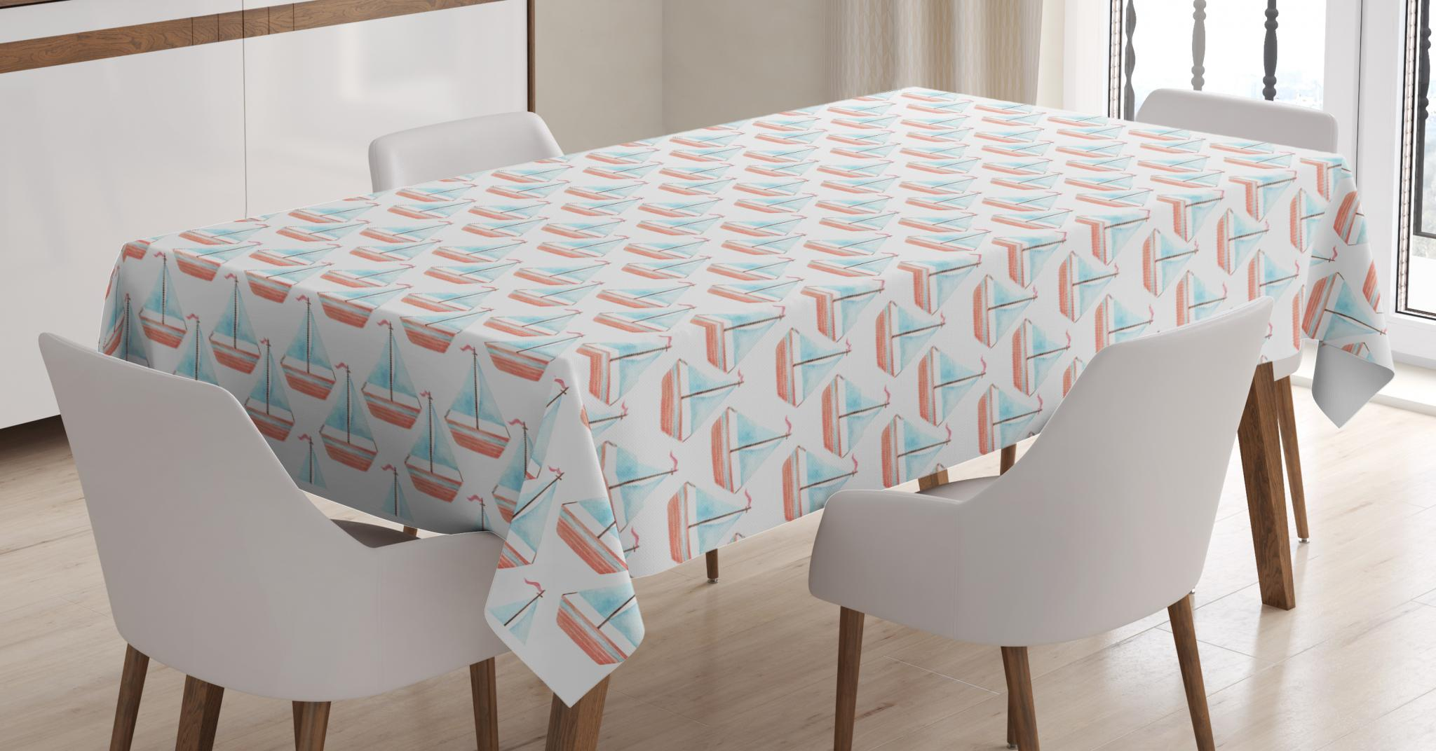 Sailboat Tablecloth, Nautical Illustration of Watercolored Marine Theme Toy Sailboats, Rectangular Table Cover for Dining Room Kitchen, 60 X... by Kozmos
