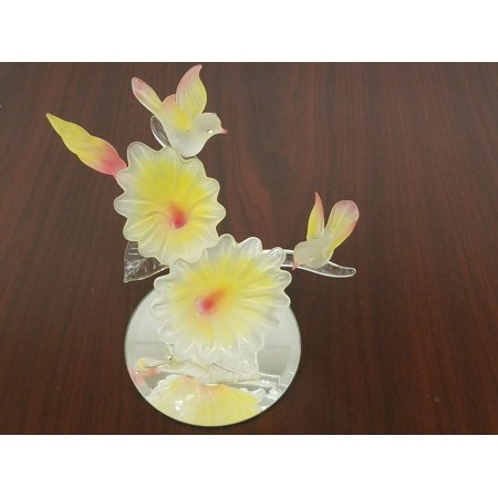 - Two Doves Blown Glass Figurine Relaxing Around Pink Yellow Flower