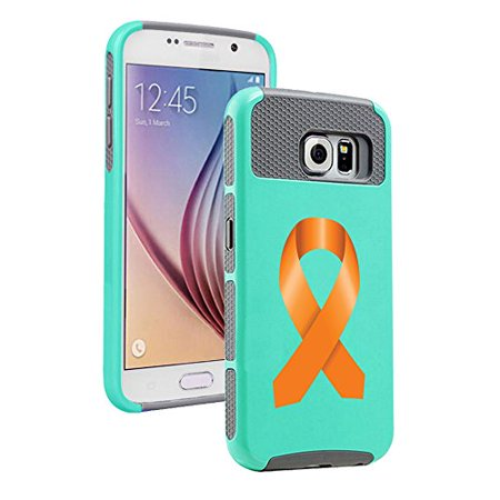 For Samsung Galaxy S7 Shockproof Impact Hard Soft Case Cover Leukemia Cancer Multiple Sclerosis Kidney Cancer Color Awareness Ribbon (Teal Gray)