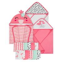 Cheap Sale Elle Baby Girls Premium Hooded Bath Towel And Washcloth 2 Piece Set Cotton Pink Towels & Washcloths