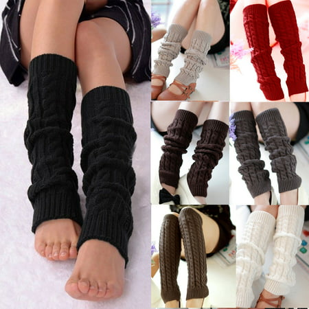 Women Girls Fashion Winter Leg Warmers Cable Knit Knitted Crochet Socks - White Leg Warmers