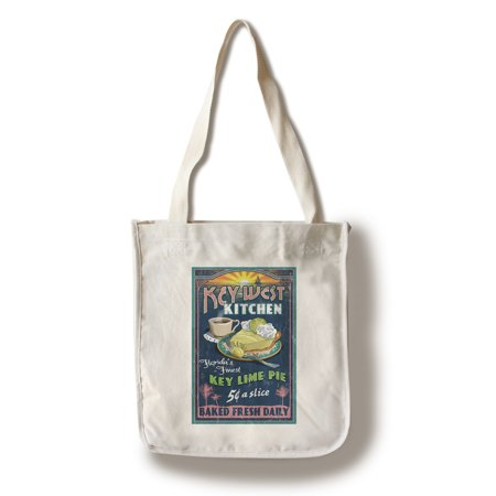 Key West, Florida - Key Lime Pie Vintage Sign - Lantern Press Artwork (100% Cotton Tote Bag -
