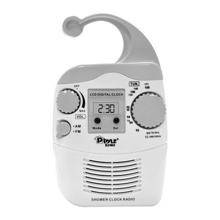 Home PSR6 Waterproof Shower Clock Radio, AM/FM Manual Tuner - Built-in Analog Tuner & Extended Reach Antenna By (Onn Am Fm Clock Radio Manual Ona15av101)