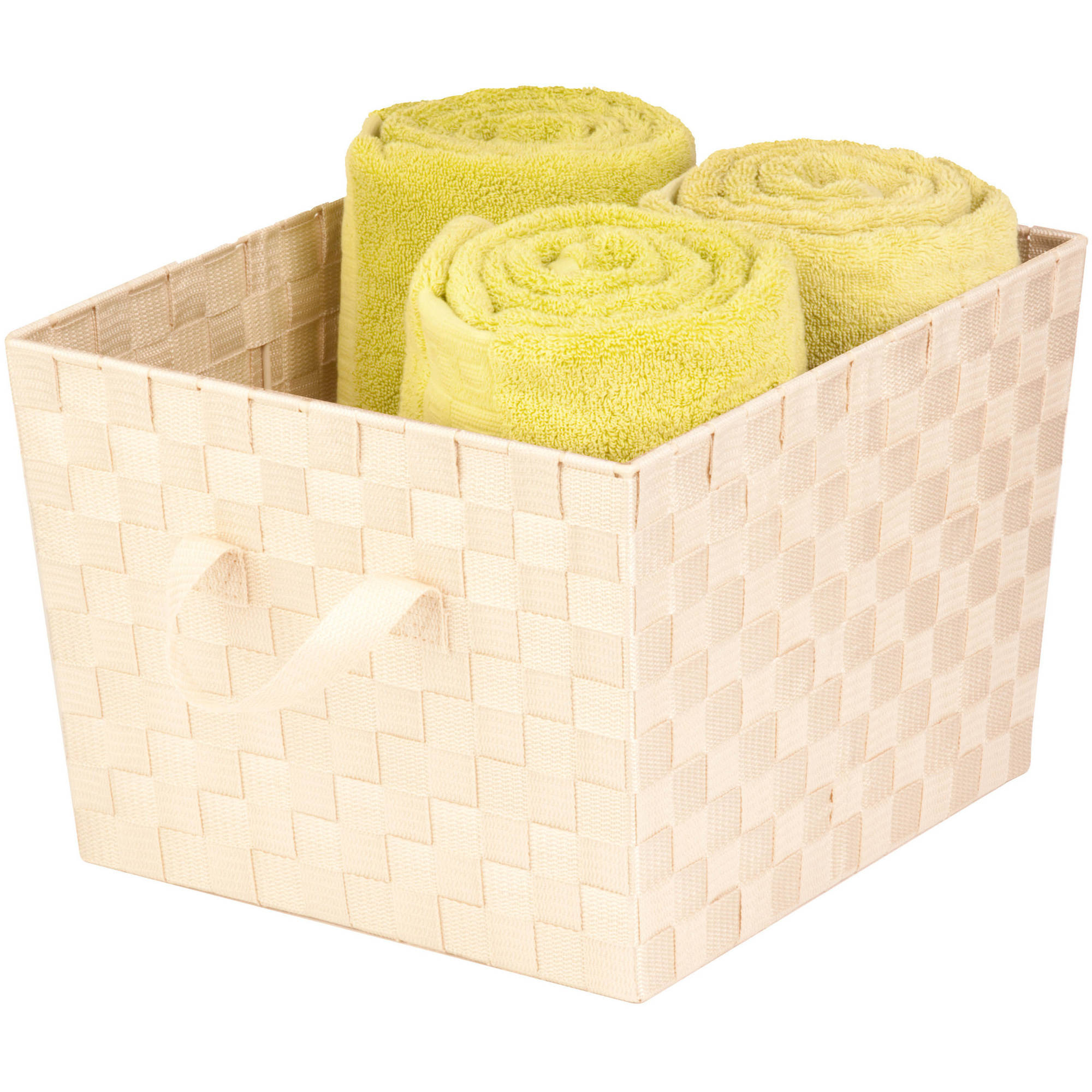 Honey Can Do Large Woven Tote Bin with Straps, Crème