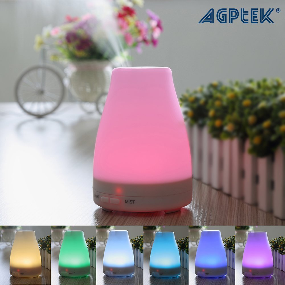 AGPtek Rainbow LED Ultrasonic Air Humidifier Purifier Aroma Diffuser with 7 Color Changing by ImageStore