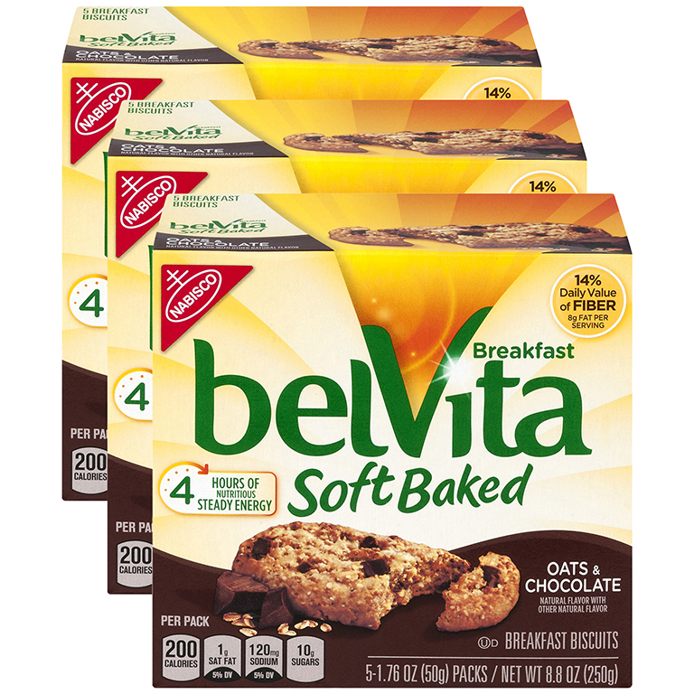 (3 Pack) Belvita Soft Baked Oats & Chocolate Breakfast Biscuits, 8.8 Oz