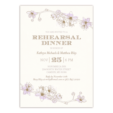 Personalized Wedding Rehearsal Dinner Invitation - Delicate Floral - 5 x 7 Flat Destination Rehearsal Dinner Invitations