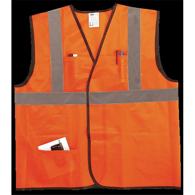 2W EN311C-2 L-XL Class 2 Econo Vest - Orange, Large & Extra Large