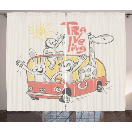 Adventure Nursery Curtains 2 Panels Set Road Trip Concept Rabbit Monkey Giraffe And Bear Travelling Window D For Living Room Bedroom 108w X