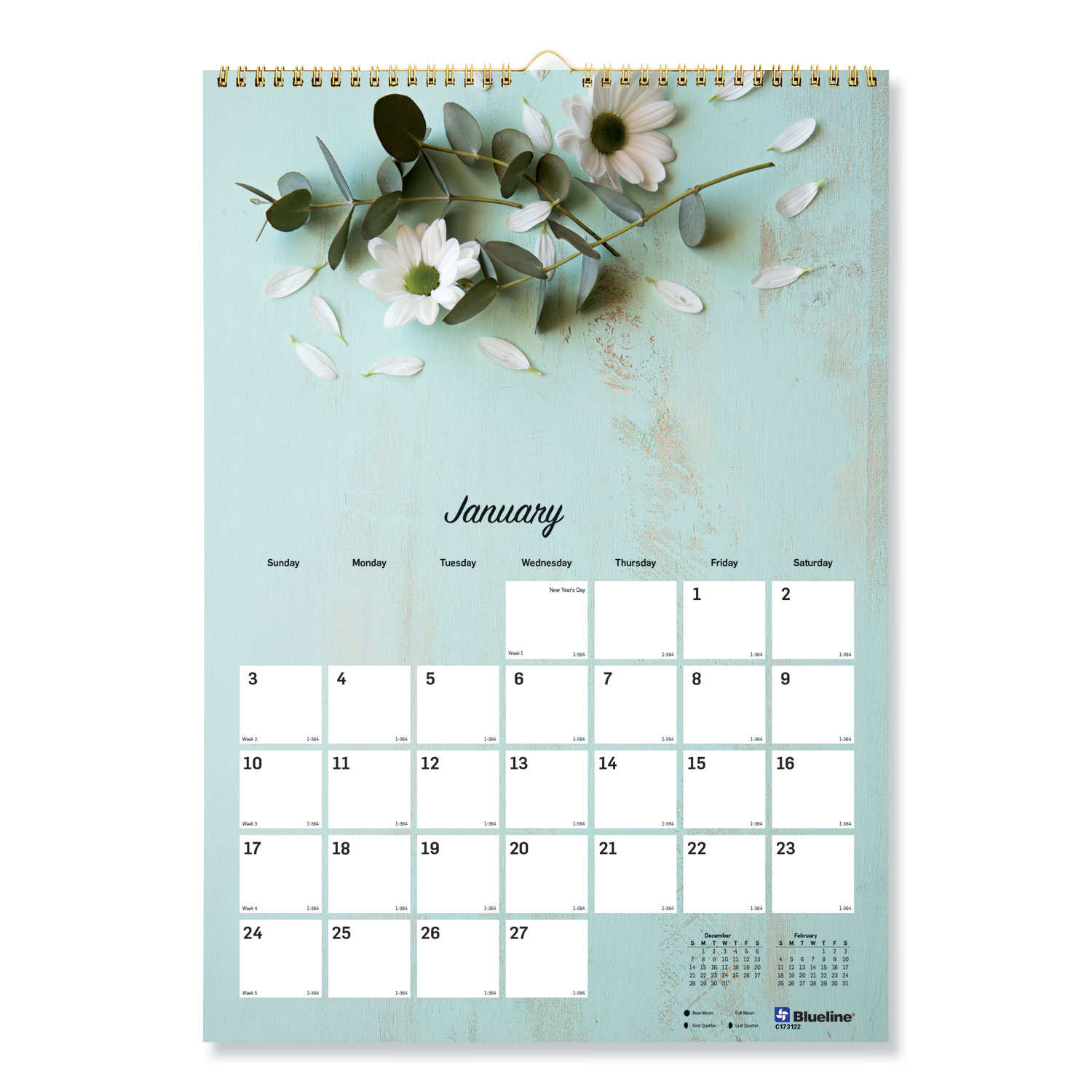 Blueline One Month Per Page Twin Wirebound Wall Calendar ...