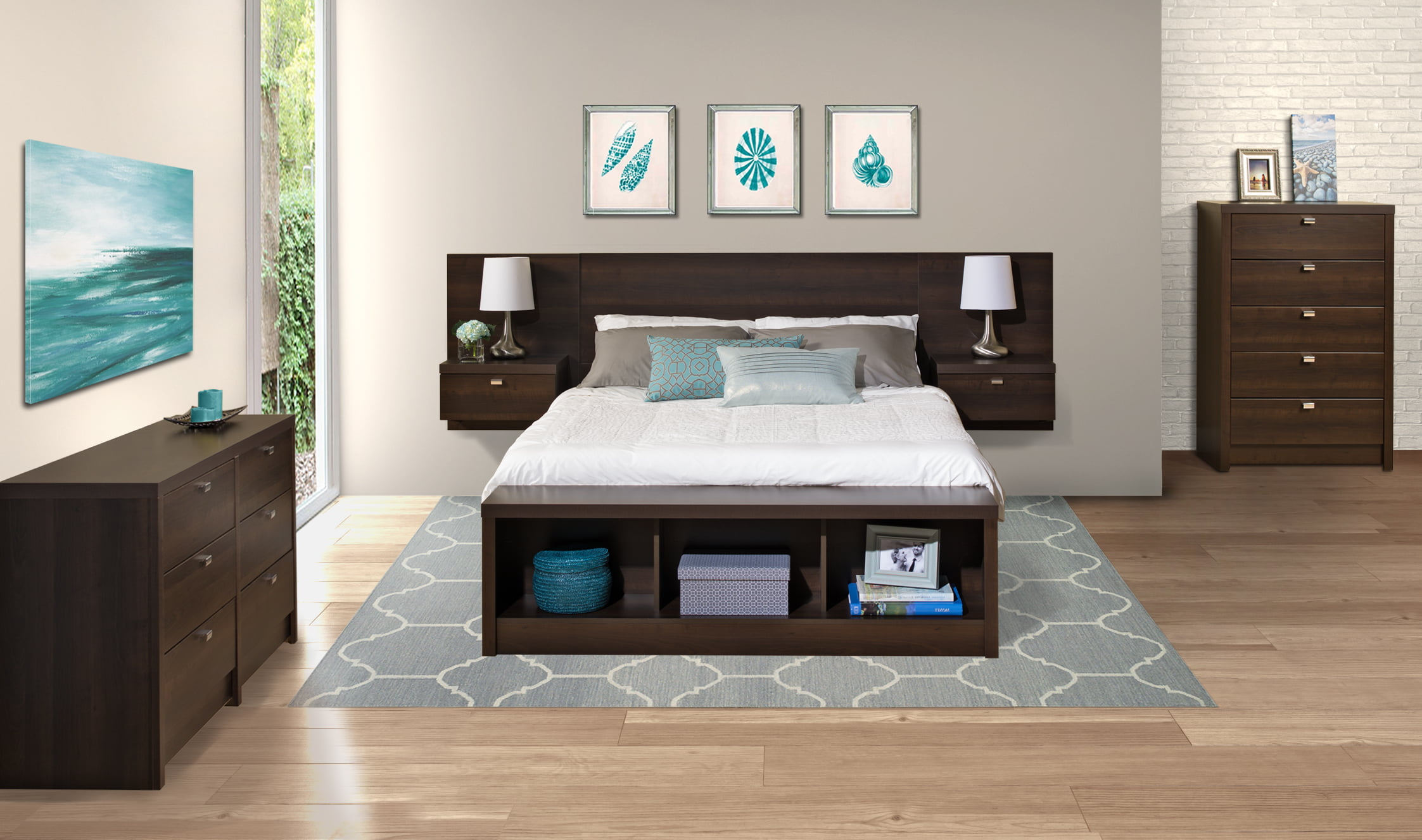 attached to saving space extra shelves floating an headboard wide combo nightstand pin