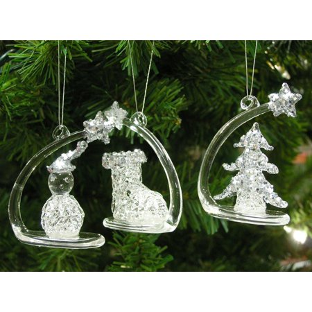 Shooting Star Glittery Crystal Glass Christmas Tree Ornaments with Figurines - Figurine Tree Ornament
