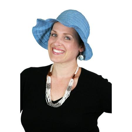 Savannah Wide Brim Ribbon Sun Hat Packable Beach Visor Small Hats for Women  (BLUE DENIM) - Walmart.com 57769bb6836