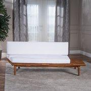 Emmory Indoor Minimalist Acacia Wood Right Sided  Sofa with Cushions, Sandblast Finish and White