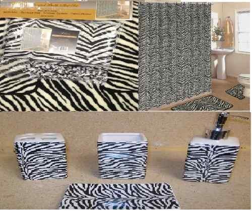 Click here to buy 19pcs Bath Accessory Set lovely white zebra print bathroom rugs& shower curtain!.