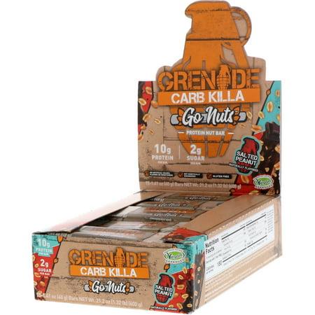Grenade  Carb Killa  Go Nuts Protein Nut Bar  Salted Peanut  15 Bars  1 41 oz  40 g  Each