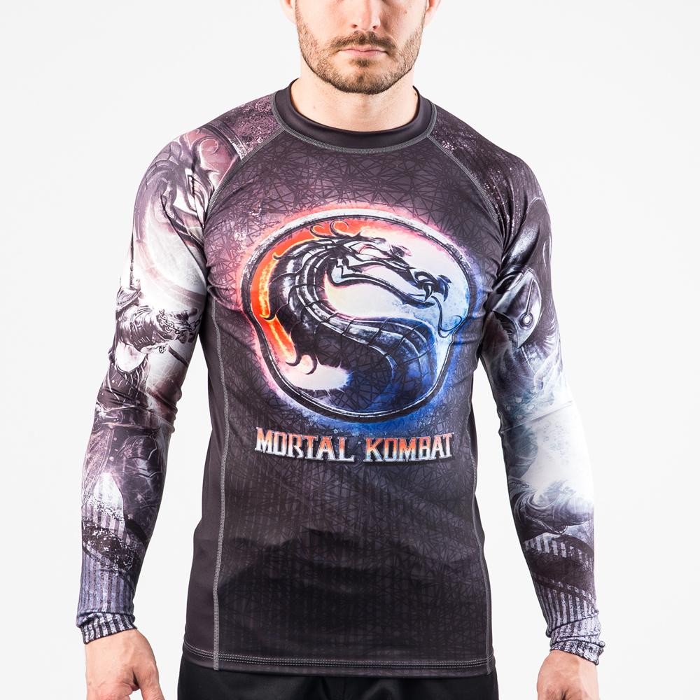 Fusion Fight Gear Mortal Kombat Sub- Zero Vs. Scorpion Rash Guard Compression Shirt Large