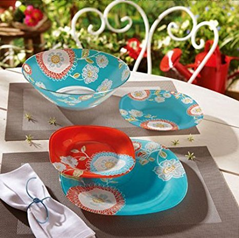 Luminarc  Silene  Unbreakable Tempered Glass 19-pcs Dinnerware Set Blue u0026 Red & Luminarc