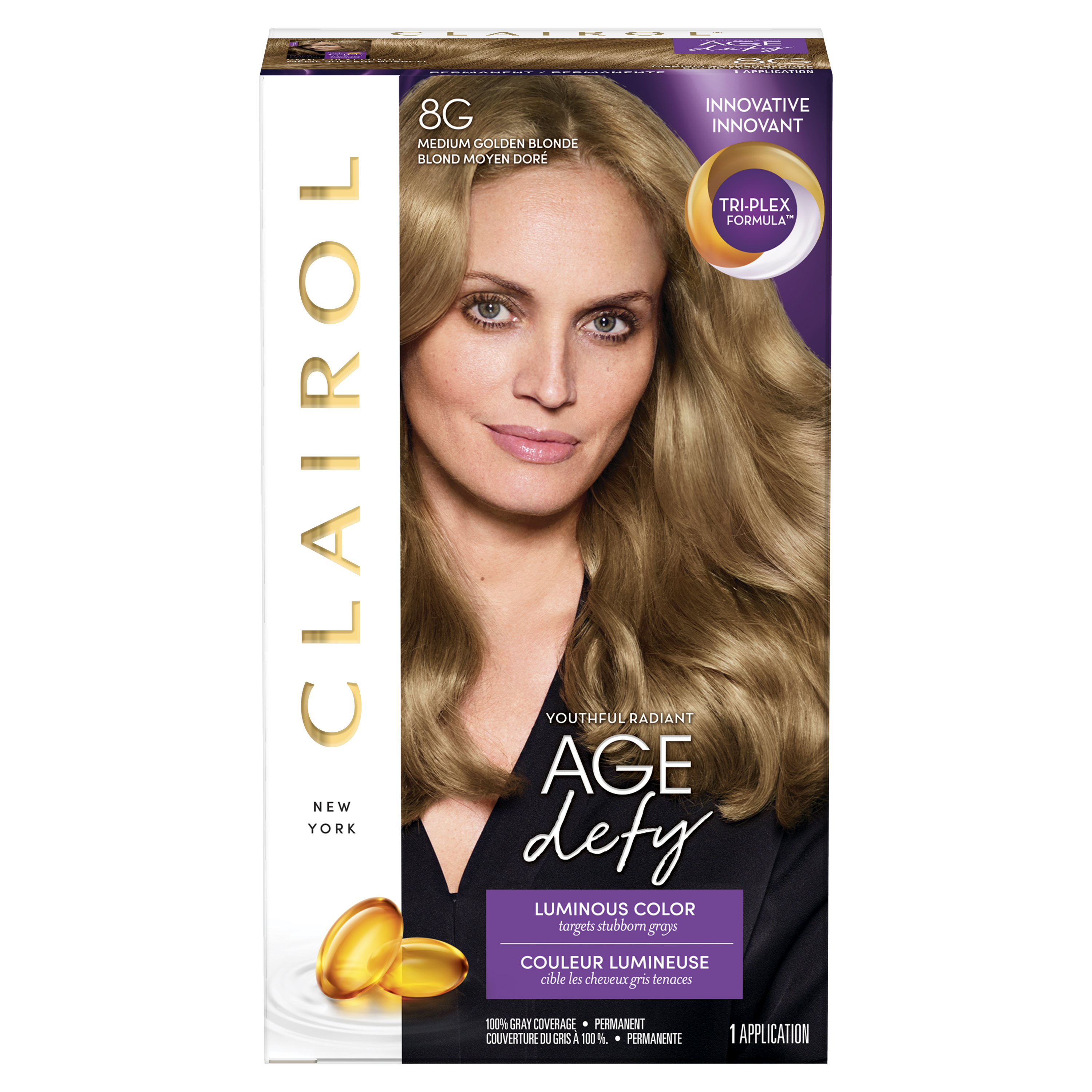 Clairol Age Defy Expert Collection Hair Color, 8G Medium Golden Blonde