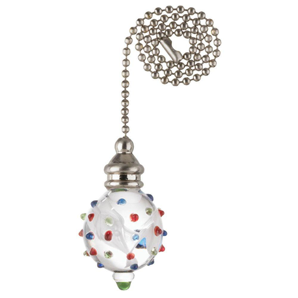 Westinghouse 7762000 White Glass Orb and Dots With Nickel Accents Pull Chain