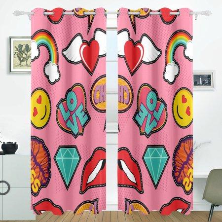 POPCreation Emoji Pink Pop Art Stitch Patch Pattern Window Curtain ...