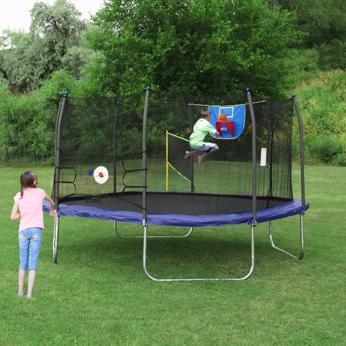 Skywalker 15' Square Sports Arena Trampoline and Safety Enclosure with Spring Pad - Blue