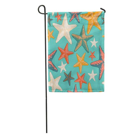 POGLIP Blue Pattern Beautiful Colorful Starfish on Turquoise Beach Abstract Garden Flag Decorative Flag House Banner 12x18 inch - image 1 of 2